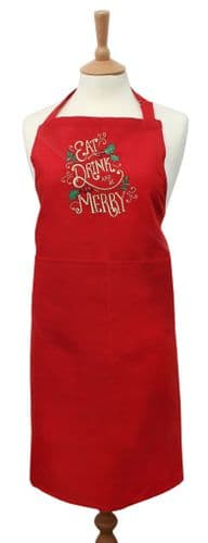 Eat Drink and be Merry Embroidered Bib Apron - Red/Multicolour
